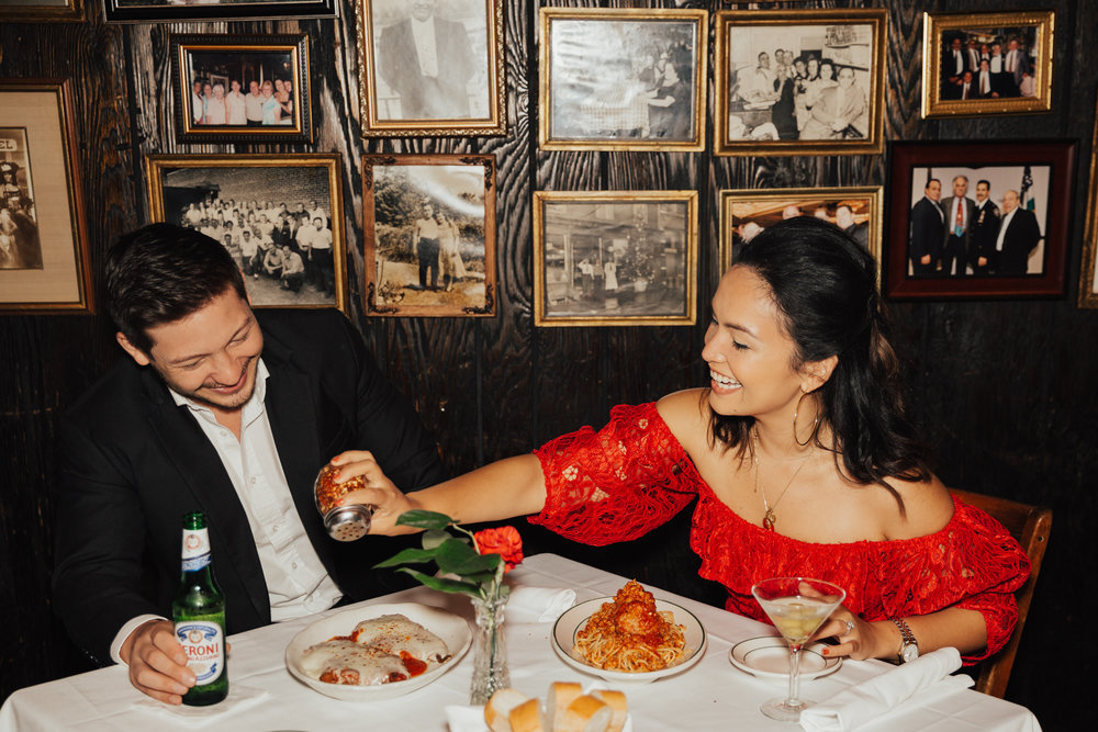italian restaurant engagement photos