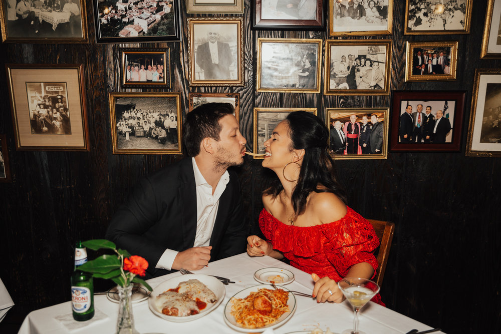 engagement photos in italian cafe