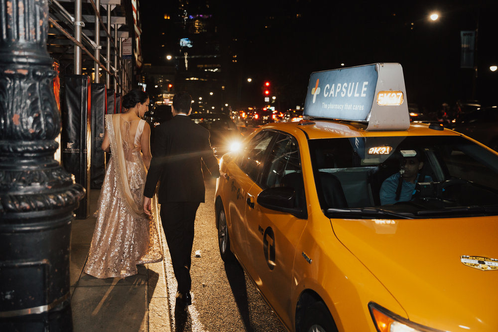 nyc bride and groom taxi