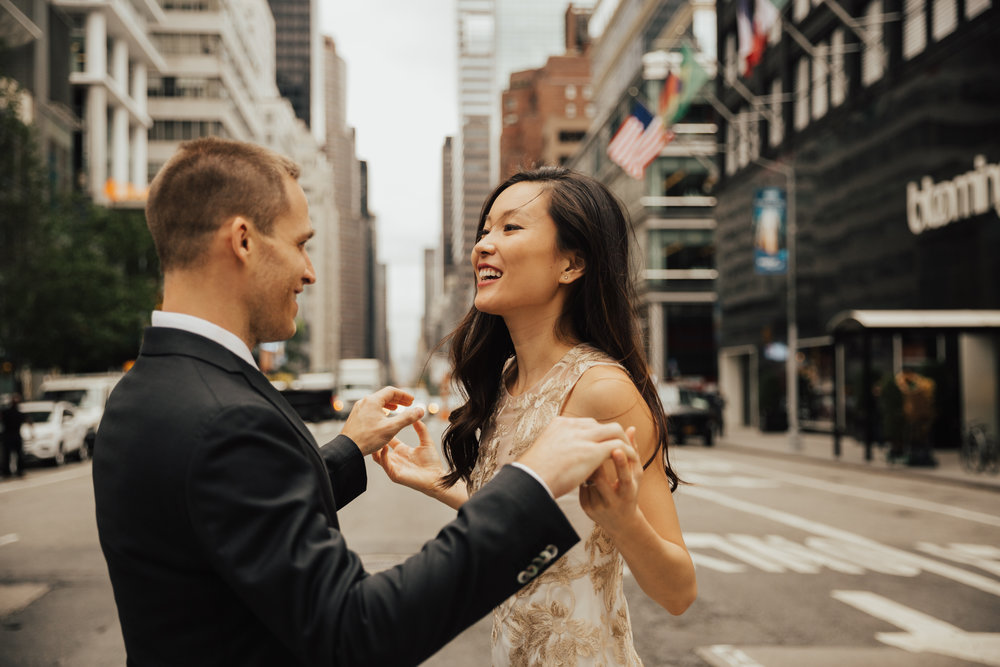 nyc candid engagement photos