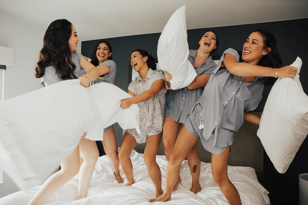 bridesmaids pillow fight