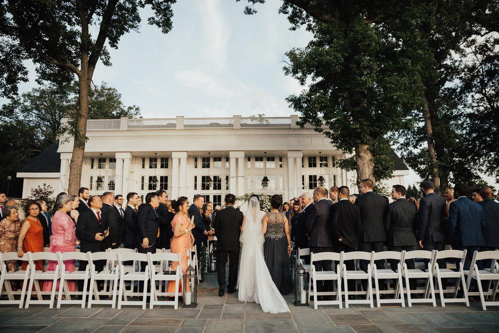 ryland inn wedding ceremony outdoors