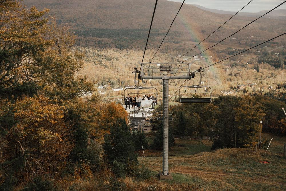 hunter mountain ski lift wedding photos