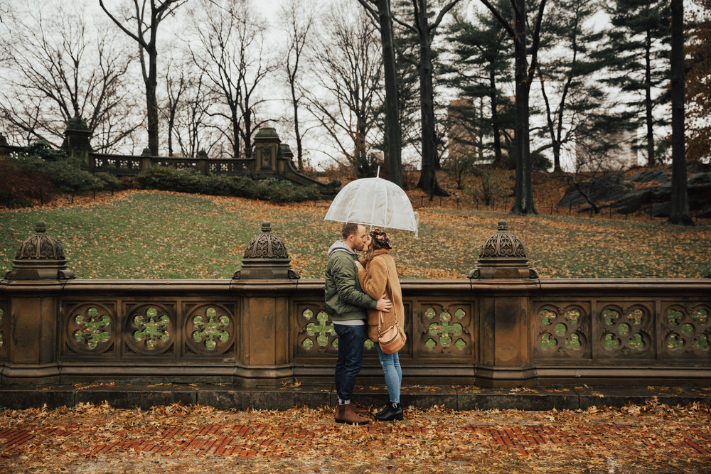 central park rainy day engagement