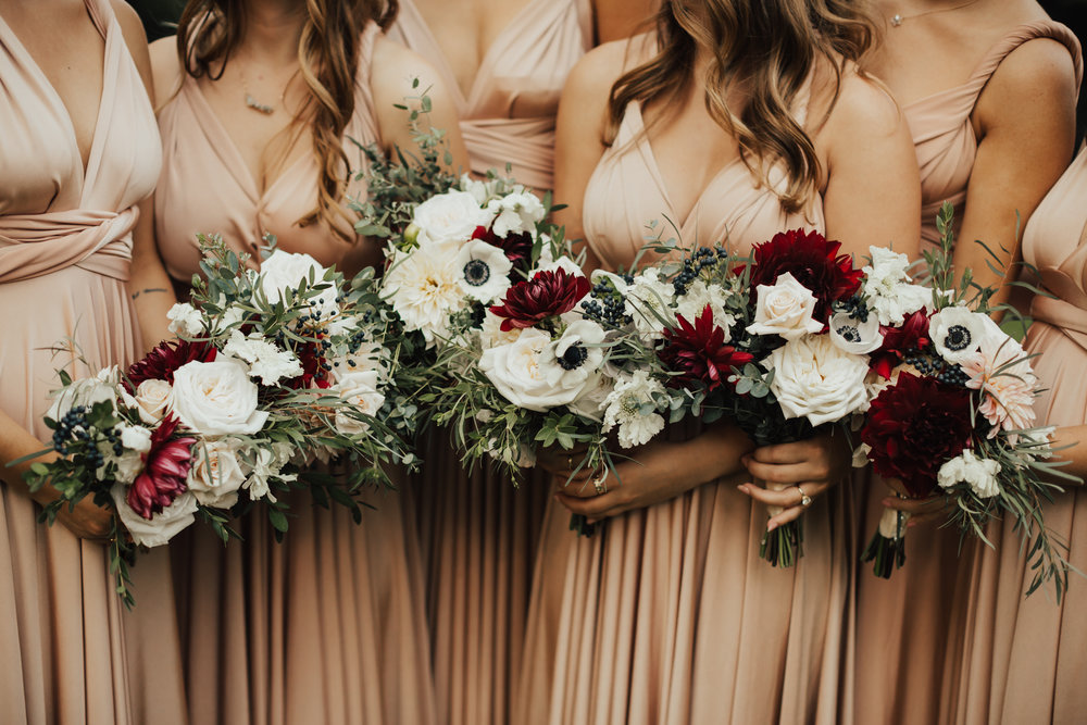 dusty pink boho bridesmaid dresses