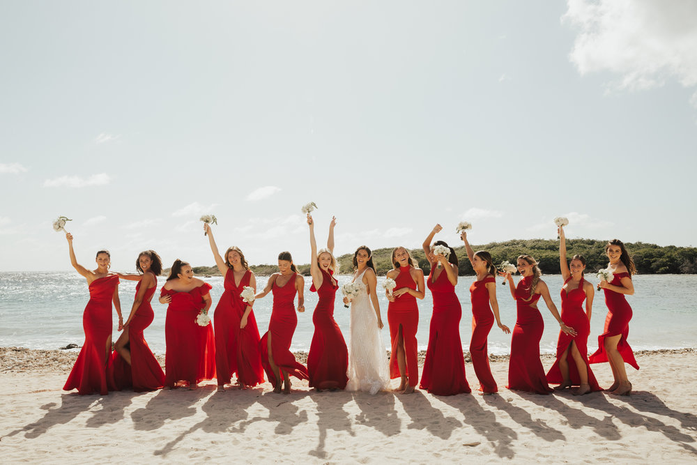 large bridal party wedding