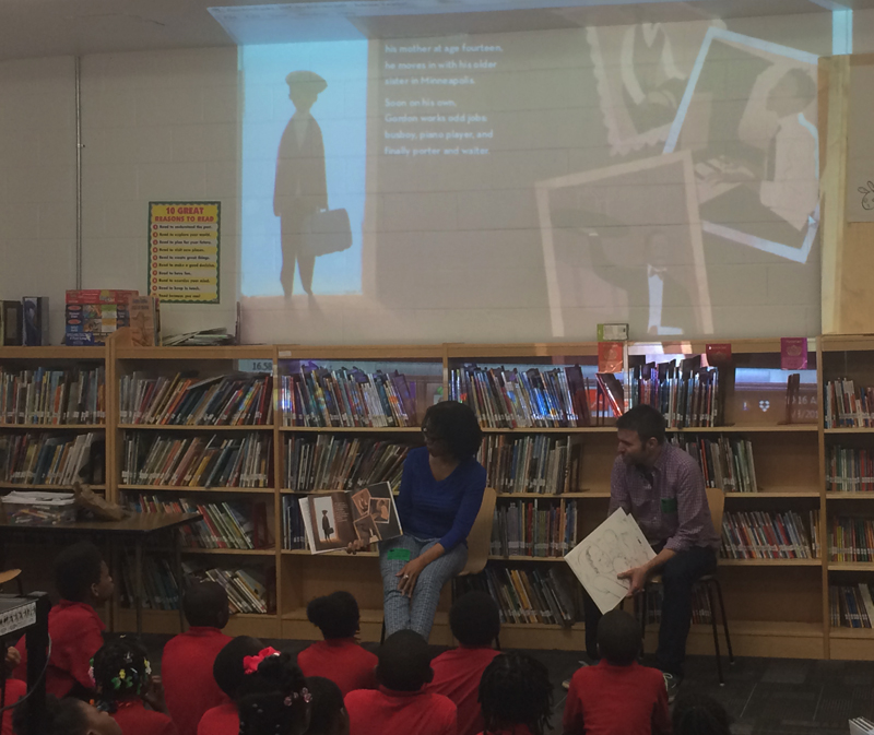 Carole reading our book to Mrs. Grahm's third grade class, Malcom X Elementary, Washington D.C.
