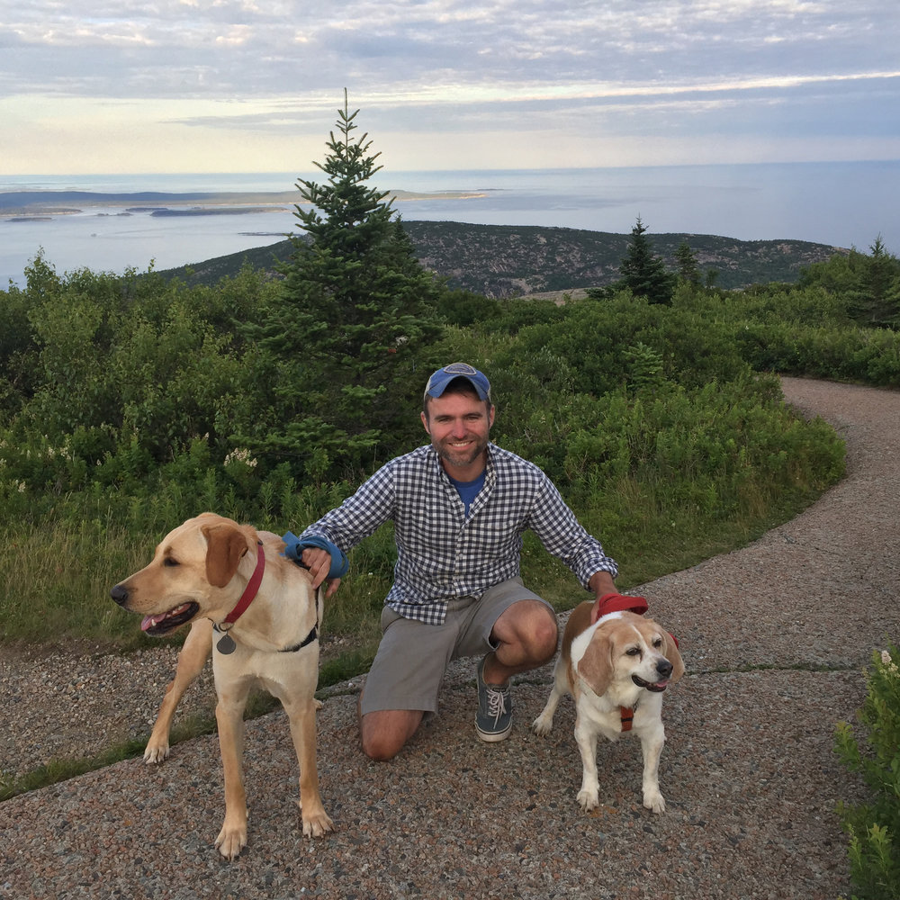 With Owen and Jack, Acadia, 2018.