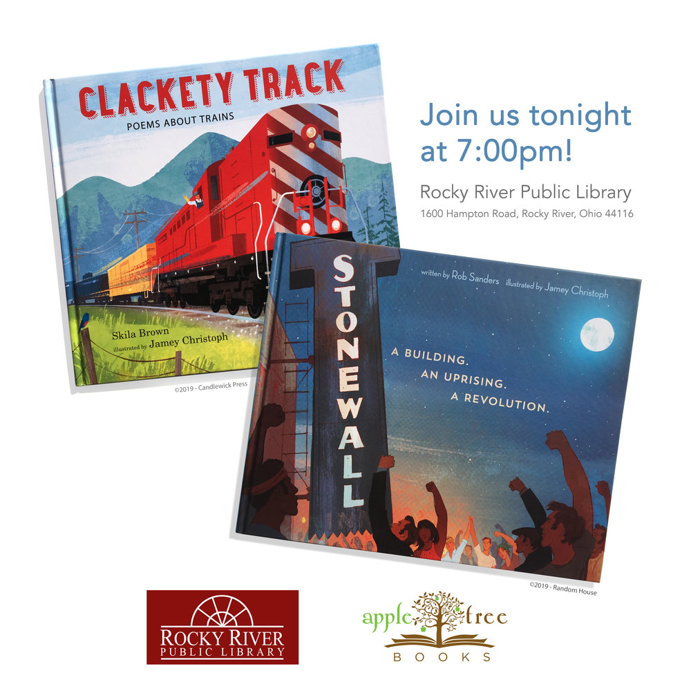 Hope to see you tonight at 7:00 pm! I'll be talking children's book illustration and the new books, Clackety Track and Stonewall: A Building. An Uprising. A Revolution., at  Rocky River Public Library . Advance copies will be available from  Appletree Books .📚