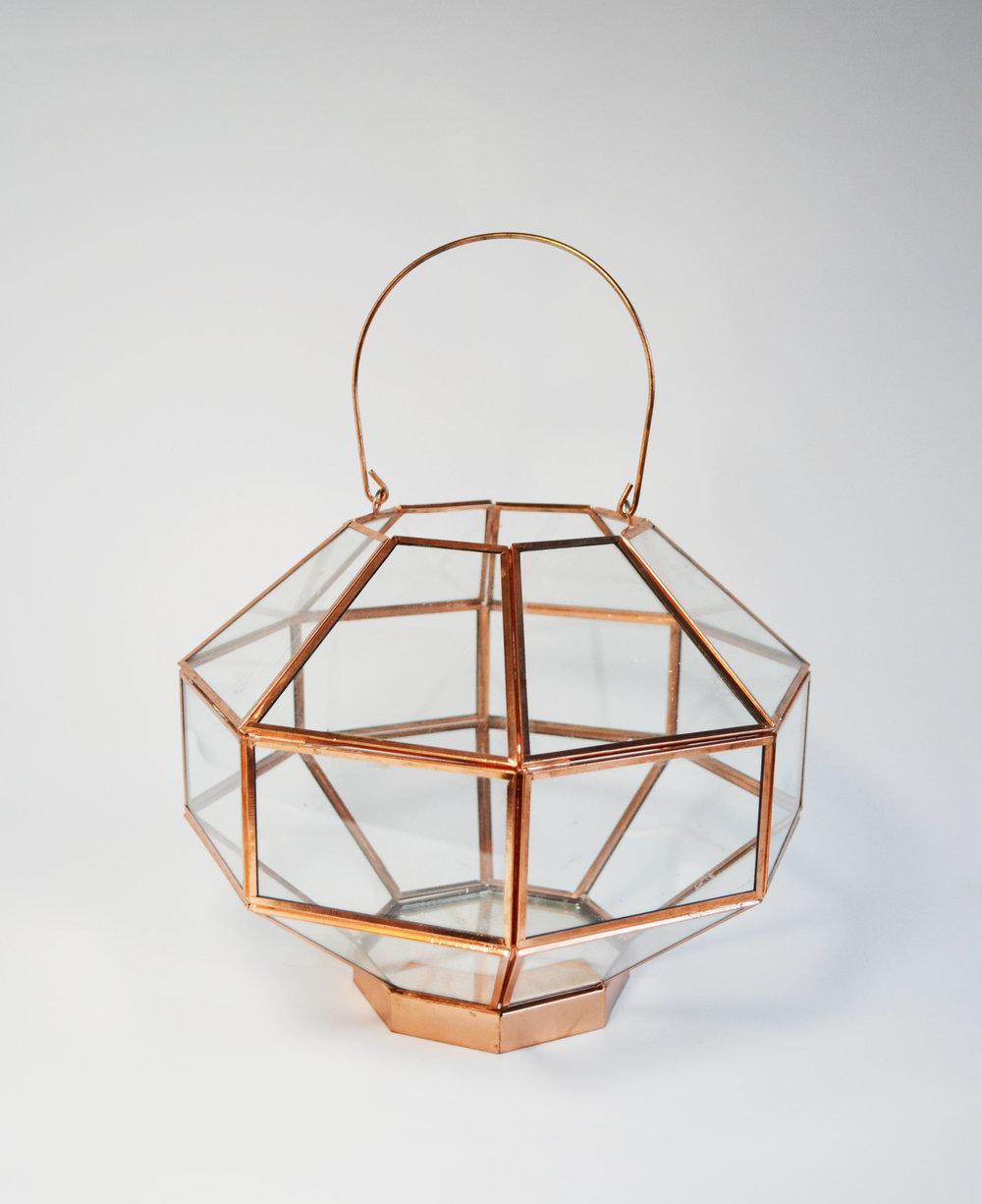 rosalyn Lantern   rose gold glass geometric  Quantity: 2  Price: $10.00