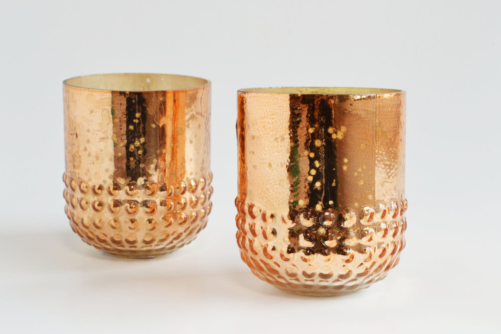 Juliette copper mercury votive   Quantity: 26  Price: $4.50
