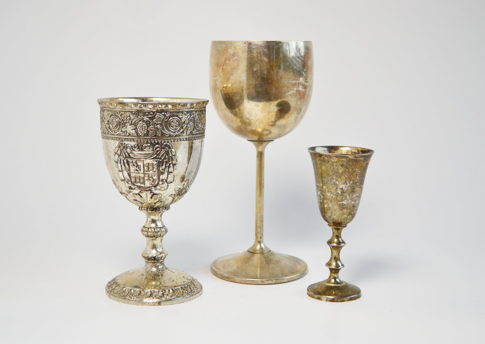 gold goblets (assorted sized)   Quantity: L (10) - M (21) - S (24)  Price: $6.00 - $5.00 - $4.50