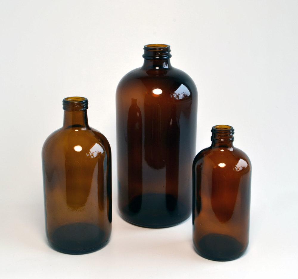 amber bottles   Quantity: tall - 11  med - 15  short - 24  Price: $4.50