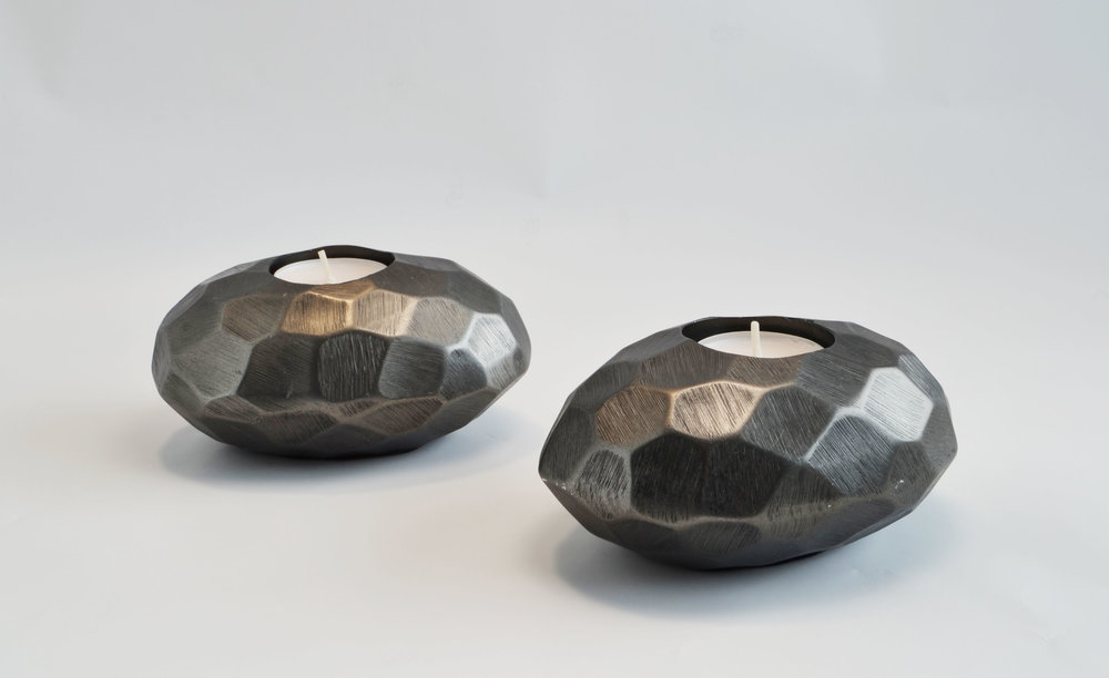 round stone votive - black   Quantity: 12  Price: $6.50