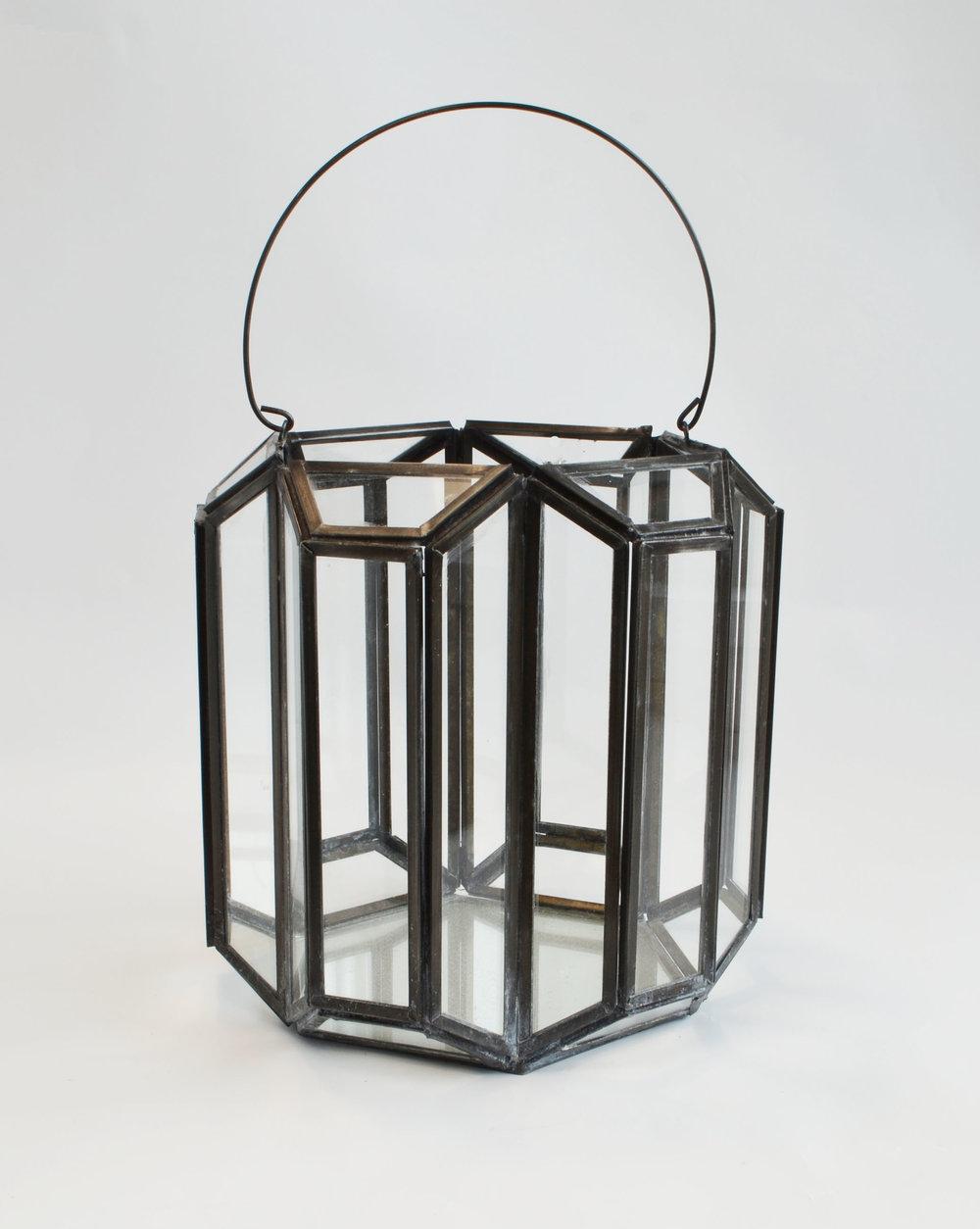 Motley lantern  Black + glass geometric  Quantity: 2  Price: $20.00