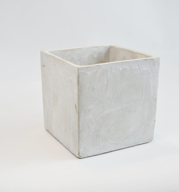"""concrete vase, 5"""" square   Quantity: 36  Price: $7.50"""