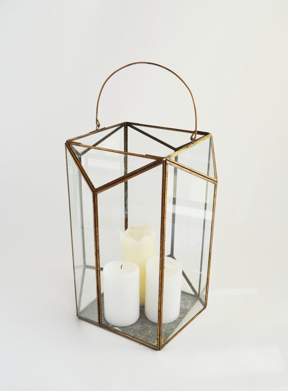 renee Lantern   large bronze glass geometric  Quantity: 3  Price: $35.00