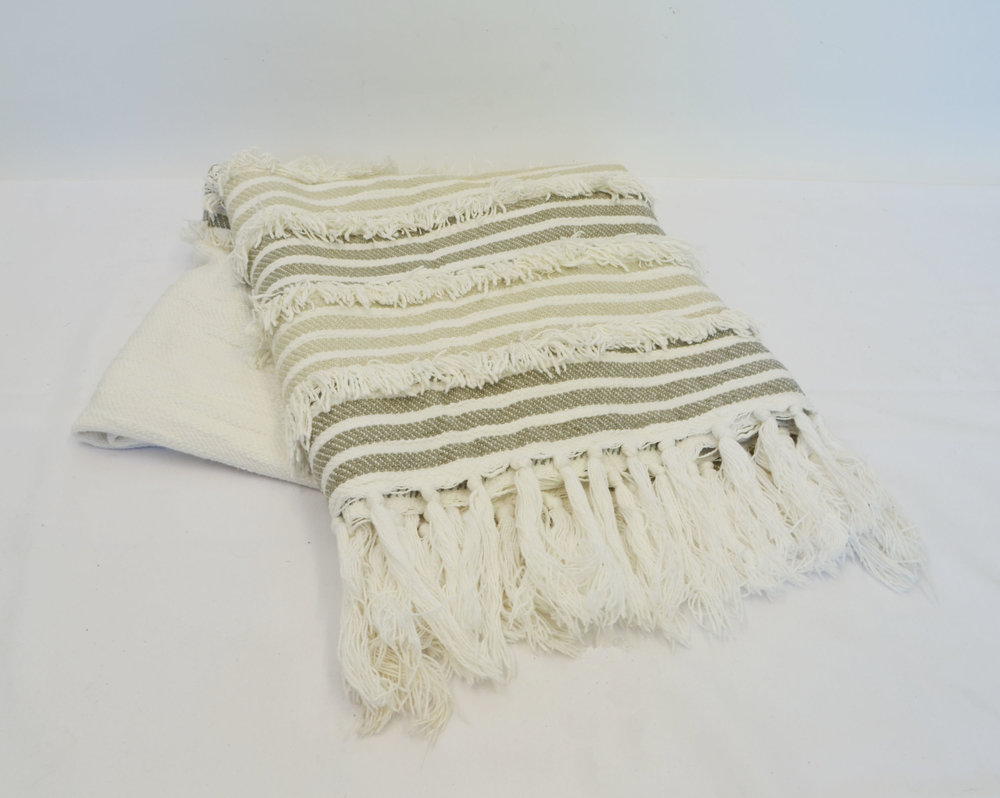 striped cream throw blanket   Quantity: 2  Price: $5.50