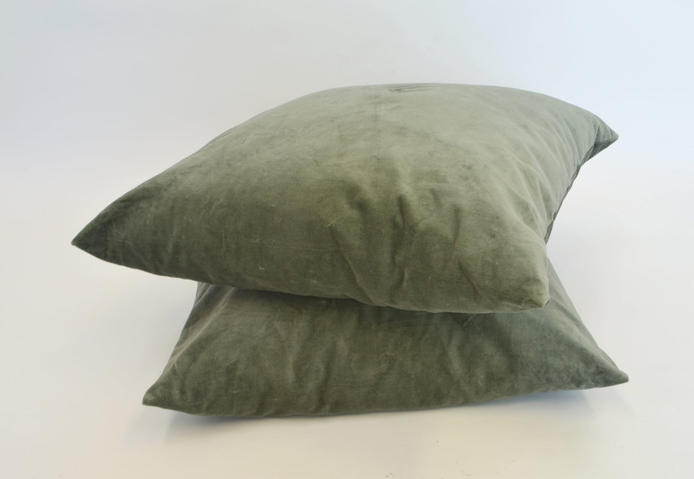sage green velvet pillow   Quantity: 8  Price: $10.00