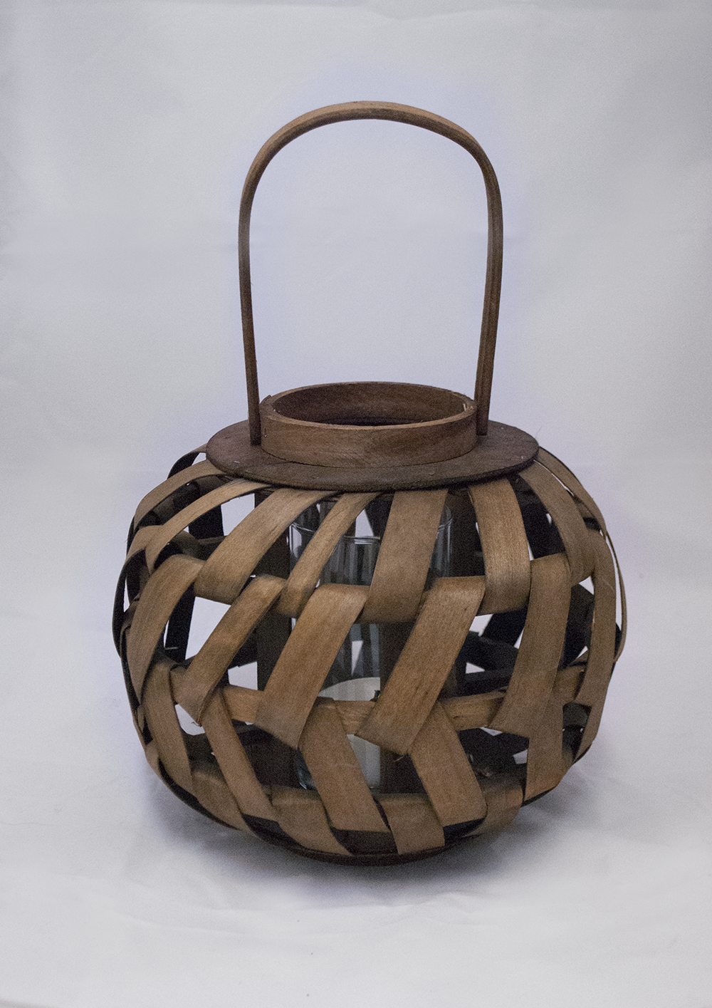 koko Lantern (round)  weaved wood + glass cylinder  Quantity: 2  Price: $20.00