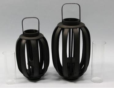 yoko Lantern  Black wood + glass cylinder  Quantity: (Short. 4) - (tall. 4)  Price: $20 - $25