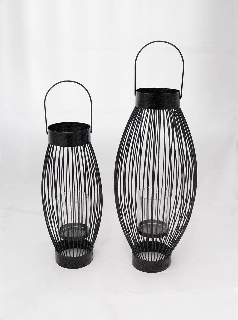 Page Lantern  Black metal + glass cylinder  Quantity: (Short. 3 ) - (tall. 3)  Price: $10.00 - $15.00