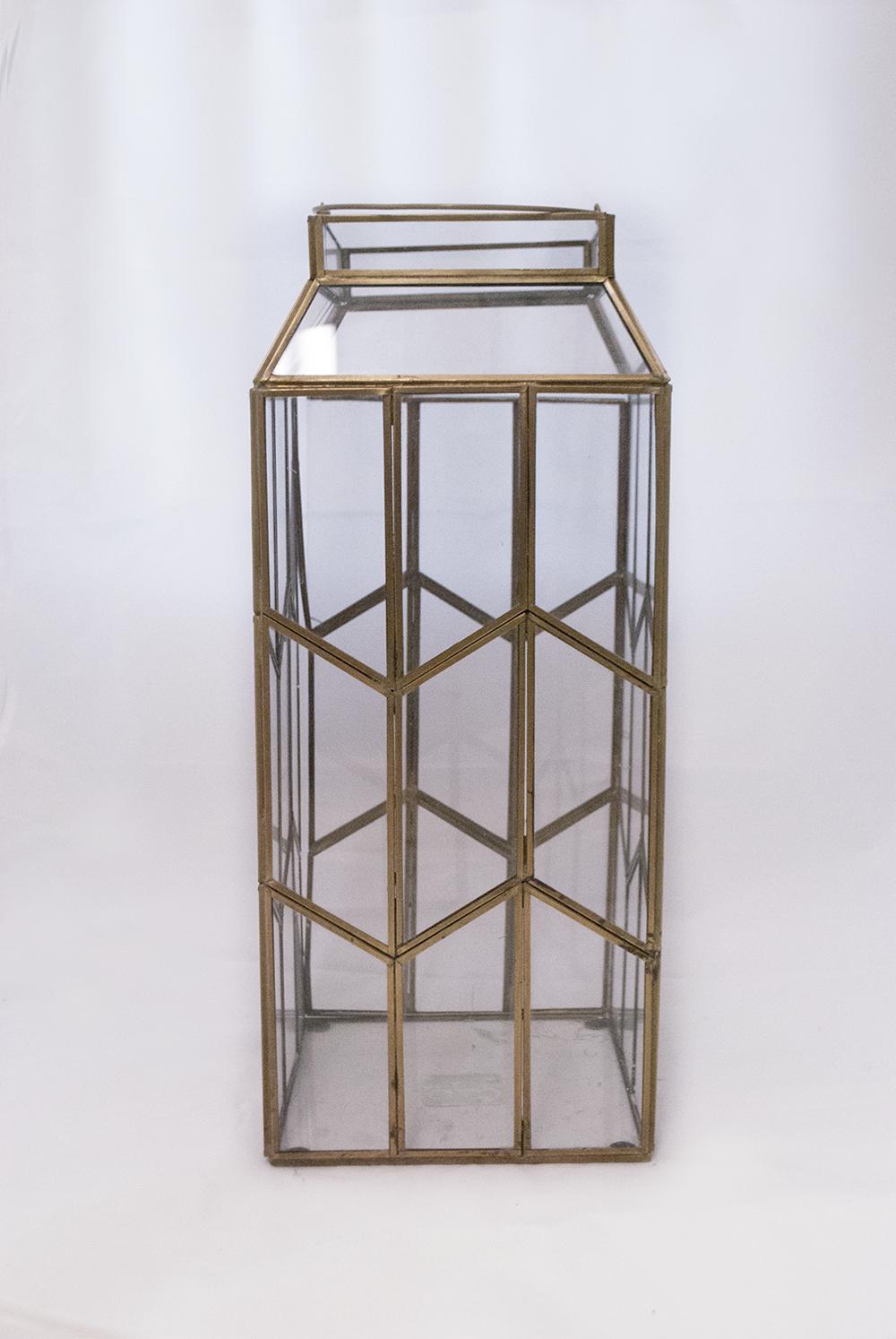 cleo Lantern   gold glass geometric  Quantity: 1  Price: $20.00