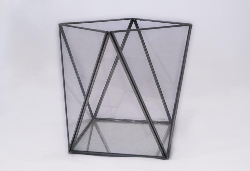 gunmetal lotus Lantern   glass geometric  Quantity: 1  Price: $17.00