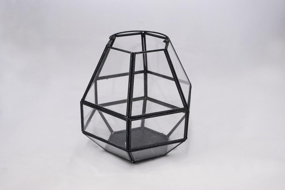 kinder Lantern   black glass geometric  Quantity: 1  Price: $17.00