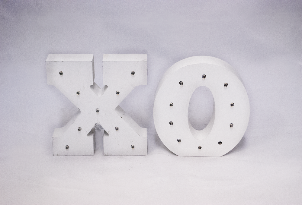 ' xo ' marquee letters   Quantity: 1  Price: $10.00