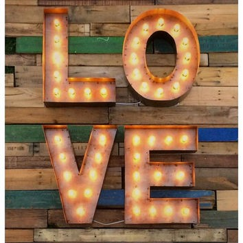metal marquee 'LOVE' sign   Quantity: 1  Price: $15.00
