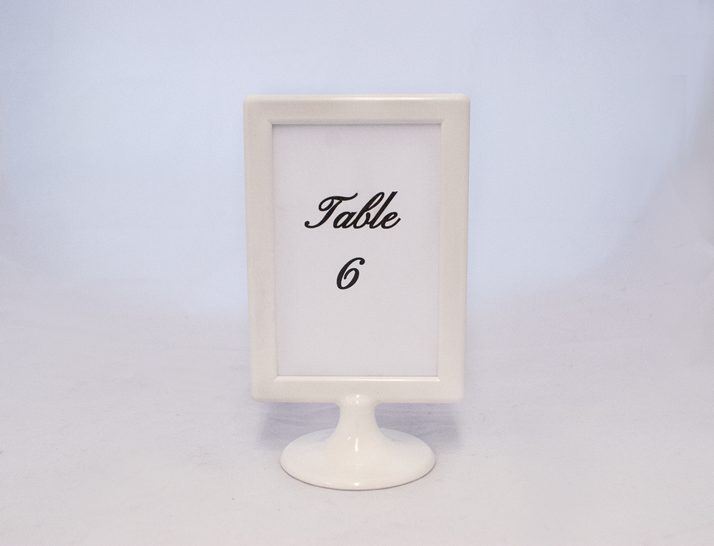 white frame 1 - table number   Quantity:  Price: