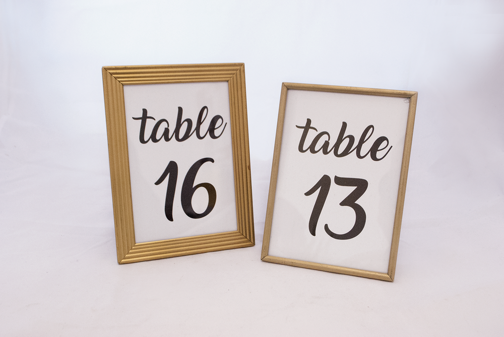 gold frame - table number   Quantity:  Price: