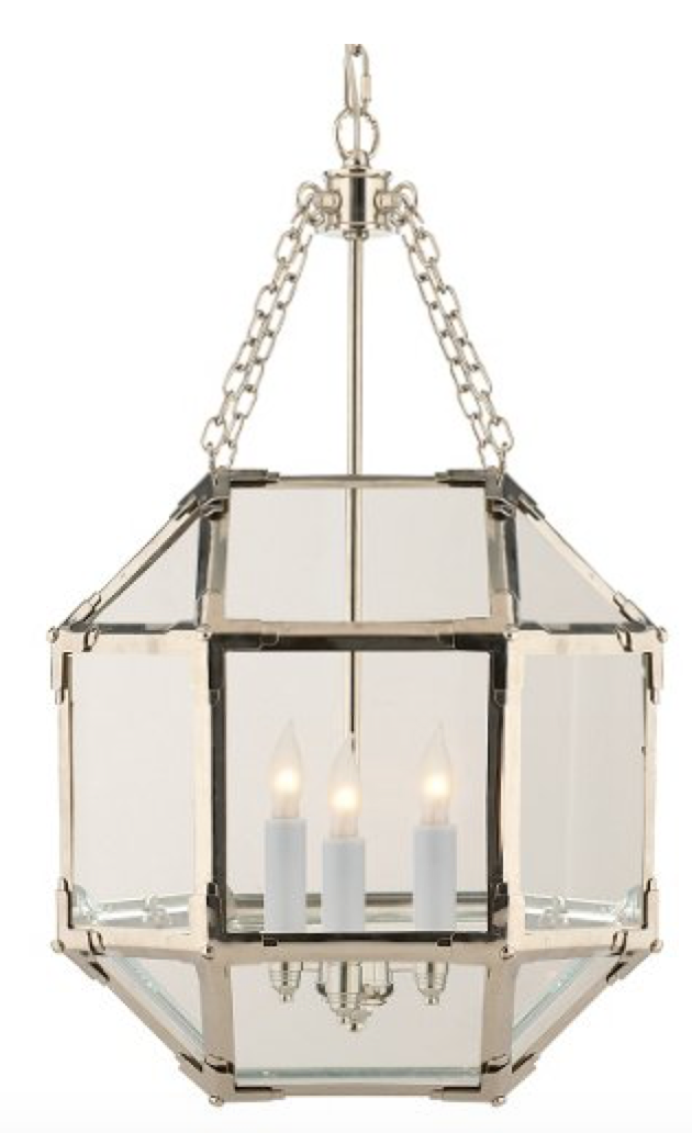 Glass Faceted Lantern Chandelier in Polished Nickel