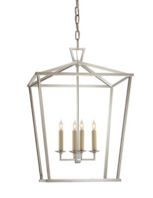 Medium Linear Lantern Chandelier in Polished Nickel
