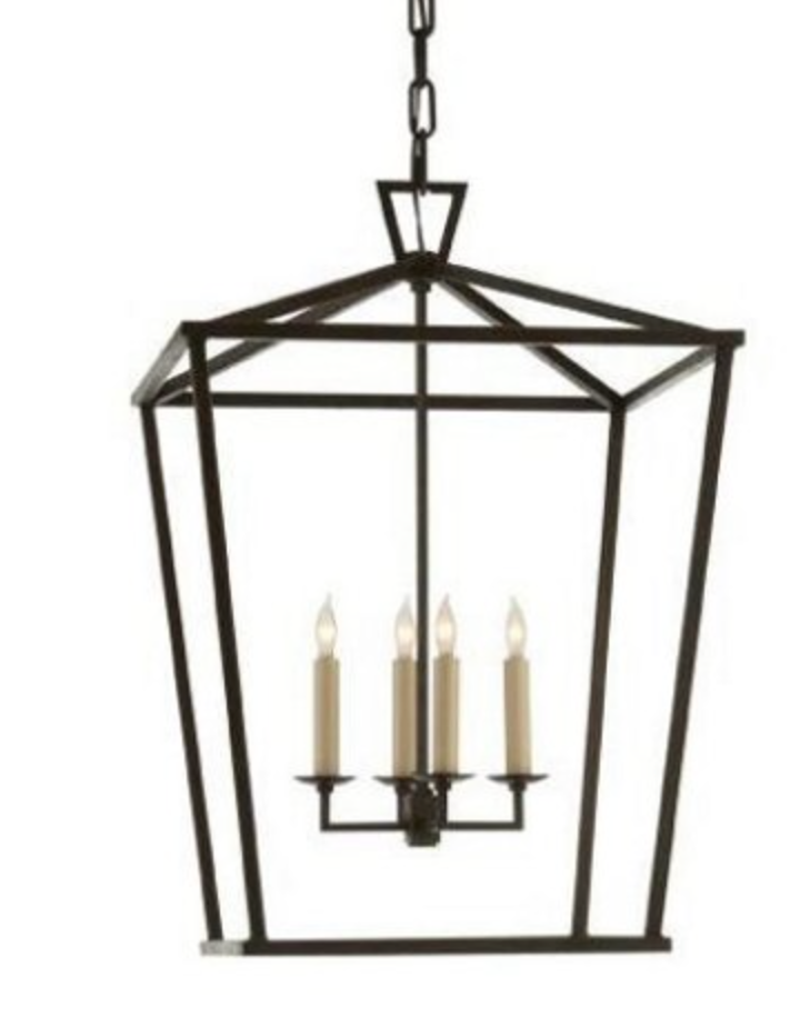 4 Light Lantern Chandelier in Iron