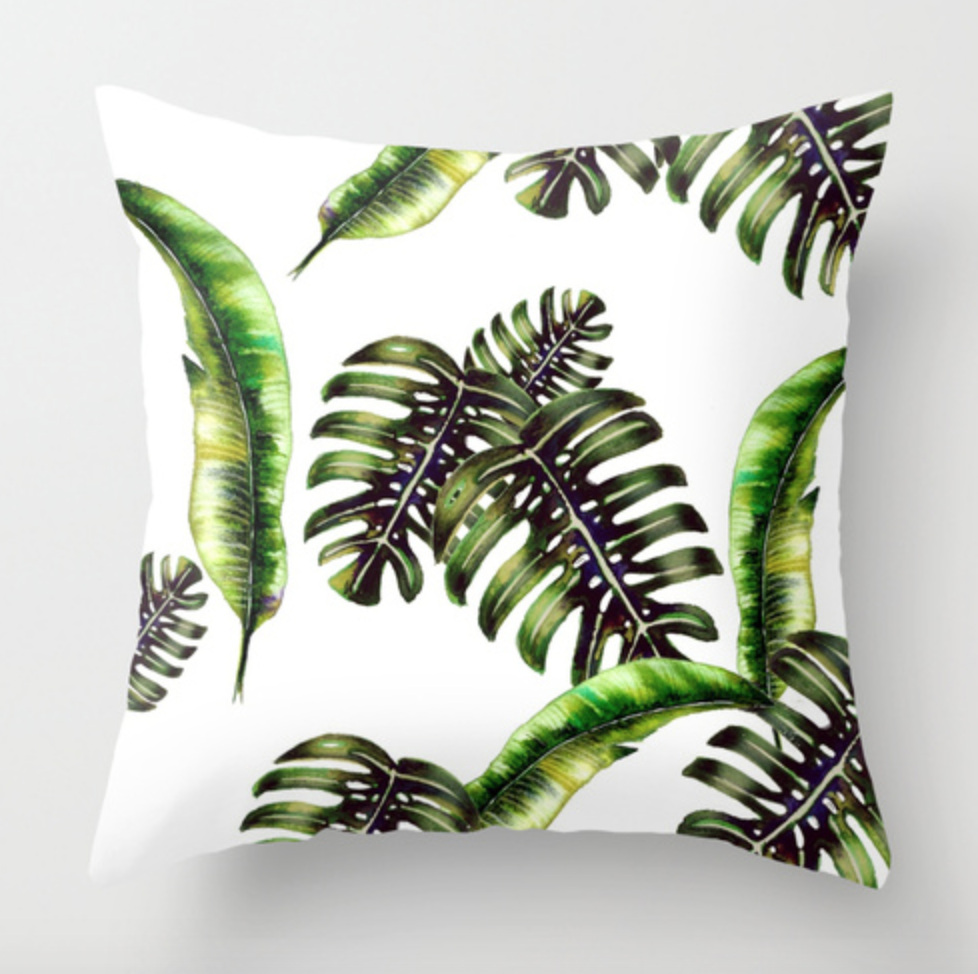 Tropical Palm Leaf Throw Pillow