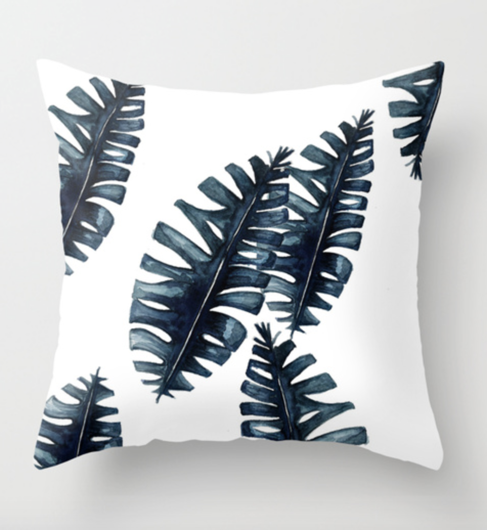 Blue Palm Leaf Throw Pillow