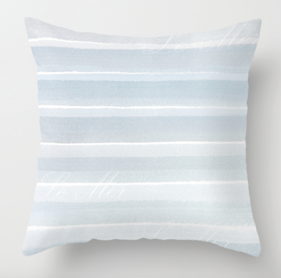 Calm Sea Blue and White Striped Pillow