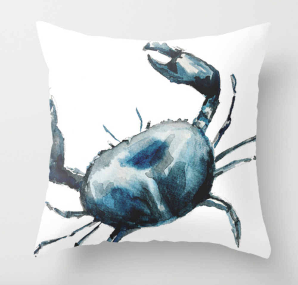 Blue Crab Watercolor Pillow