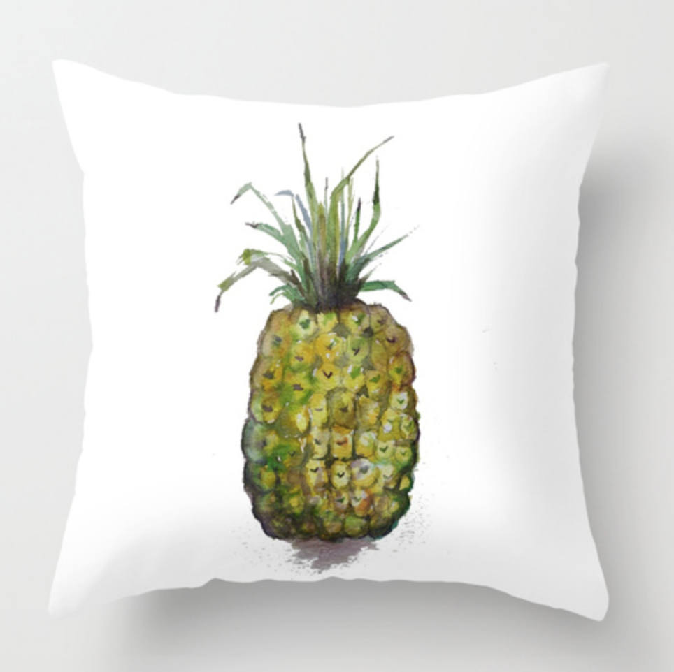Single Pineapple Watercolor Throw Pillow