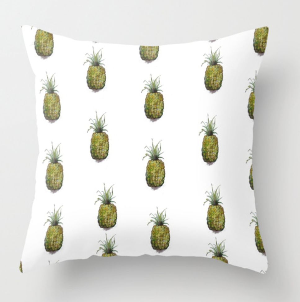 Small Pineapples Watercolor Pillow