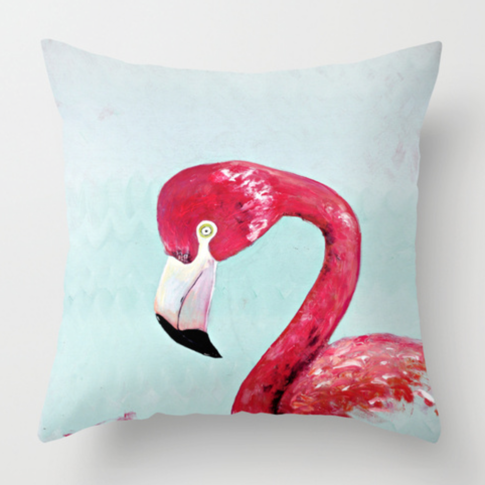 Single Flamingo Water Color Pillow