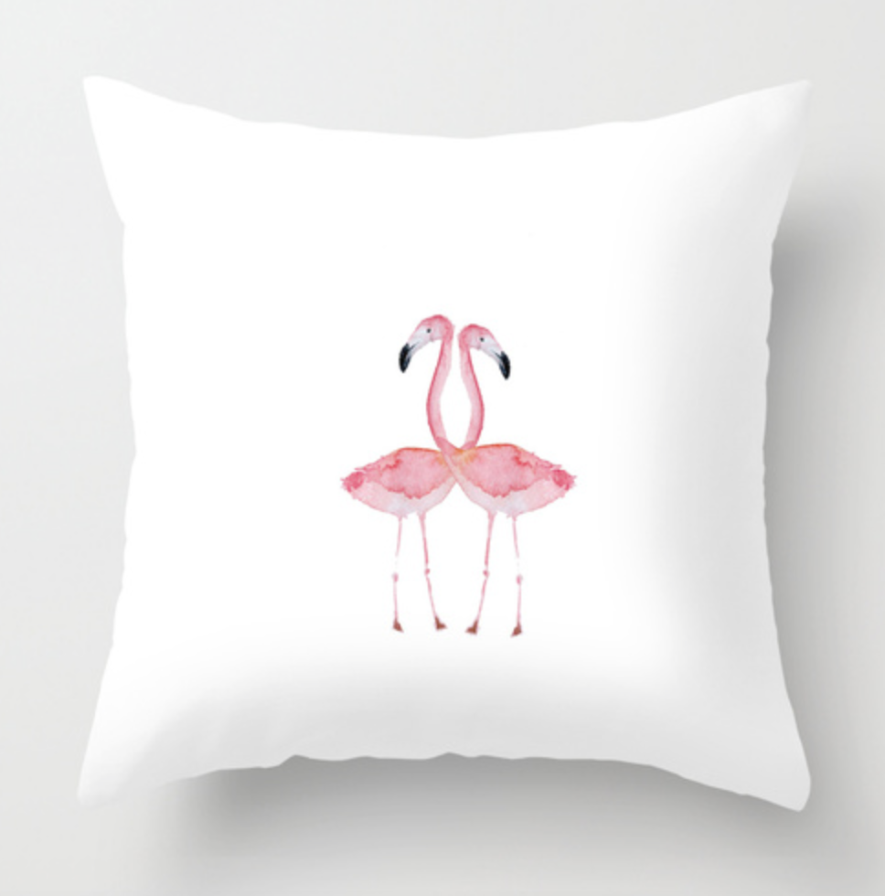 Double Flamingos Watercolor Throw Pillow