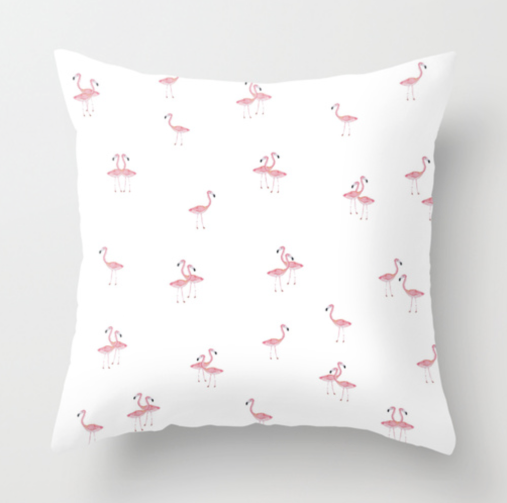 Flamingo Trio Watercolor Throw Pillow