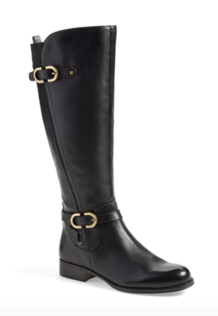 Gold Buckle Wide Calf Knee High Boot
