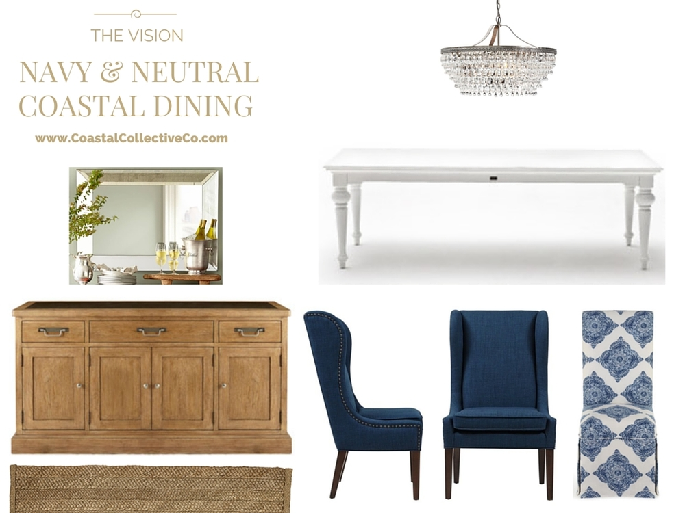coastal interiors: navy and neutral dining room — coastal