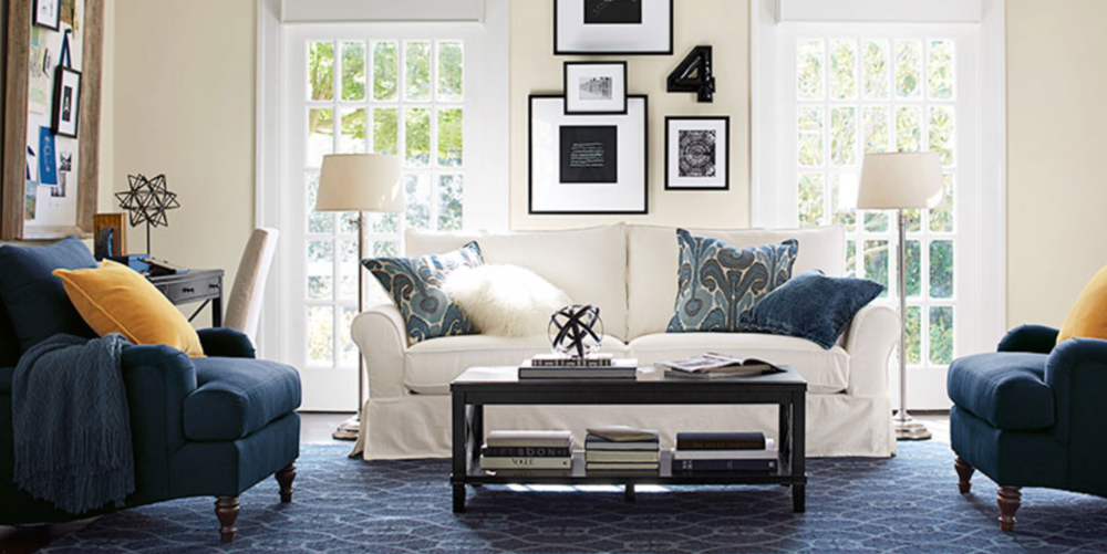 outstanding navy white living room | Navy and White Living Room Design + A Style Update ...