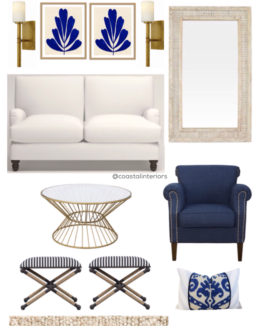 Gold Sconces / Navy Blue Wall Art / Large Floor Mirror / Navy Blue Chair  With Nailhead Trim / Navy Ikat Pillow / Striped Stools / Gold Round Coffee  Table ...