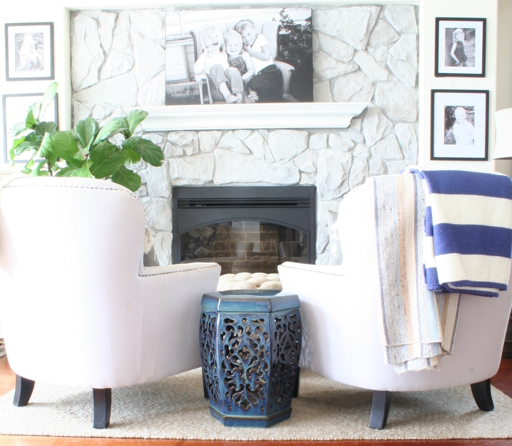 how to whitewash stone diy fireplace makeover coastal collective co. Black Bedroom Furniture Sets. Home Design Ideas